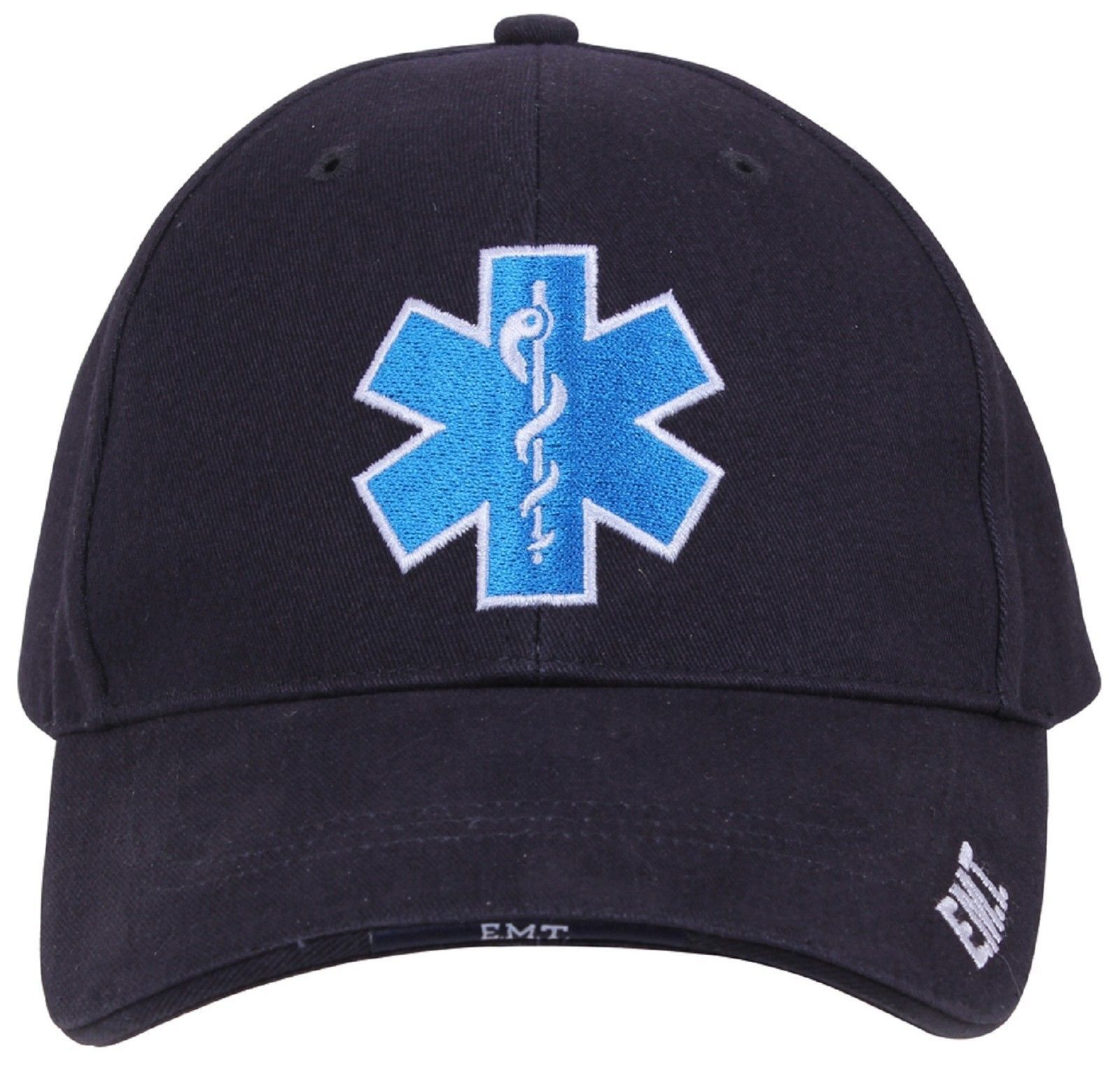 dfc40308c4f9f Men s Navy Blue Embroidered Star of Life EMS EMT Logo Deluxe Low Profile  Cap Hat