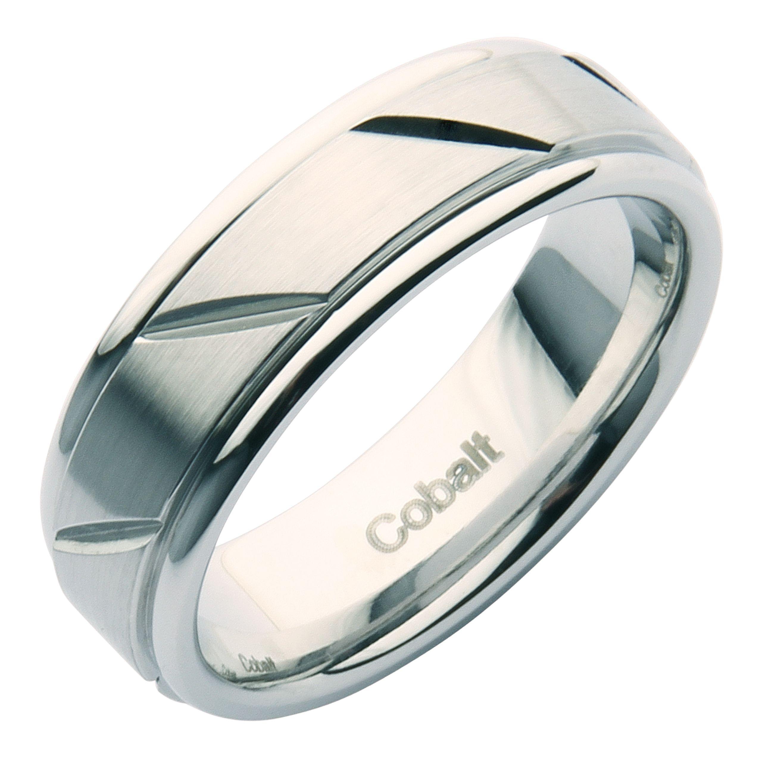 7mm Cobalt Grooved Patterned Wedding Ring Band Cobalt