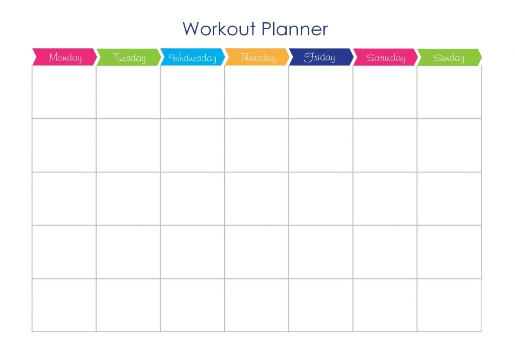 Diet And Exercise Calendar Template Workout Plan Template