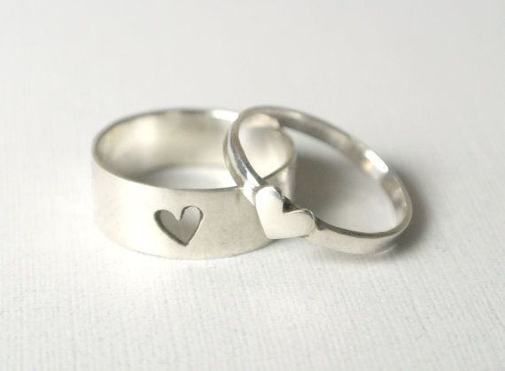 Tiny hearts - promise rings/ promise ring set/ couple jewelry/ couples rings/ couples jewelry ...