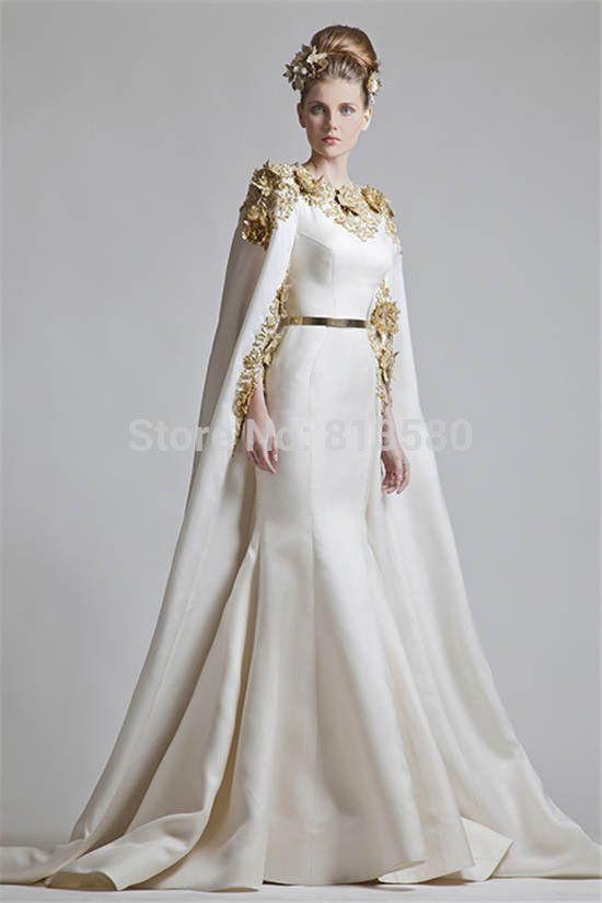 0e712007b0 Haute Couture Famous Designer Arabia Muslim Golden Applique Mermaid ...