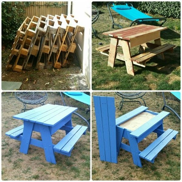 diy sandbox picnic table twoinone for kids outdoor fun a table with builtin benches allows children to play without putting sand all over the garden