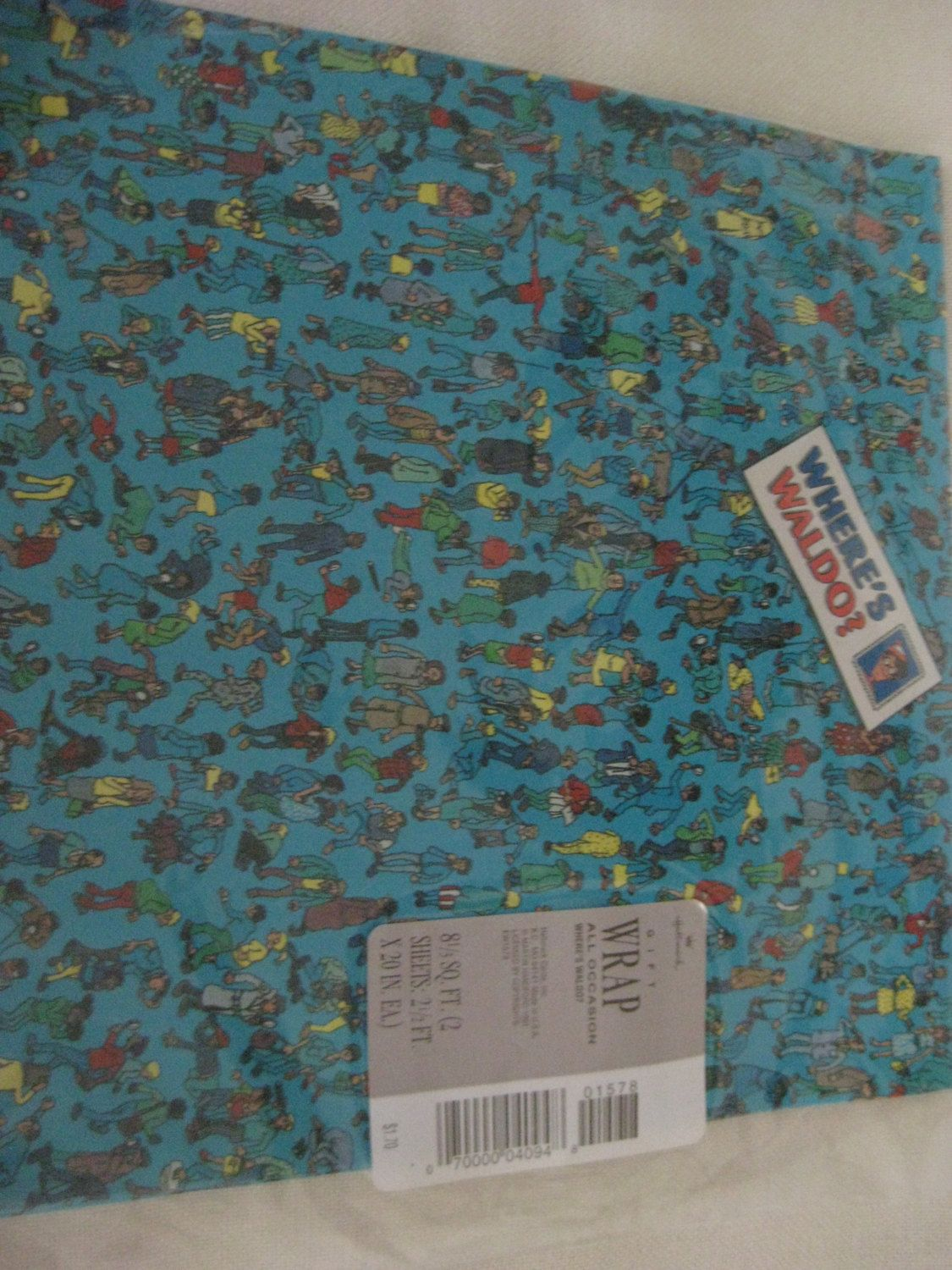 Vintage Factory Sealed Where S Waldo Wrapping Paper Blue Wrapping Paper Wrapping Paper Vintage Party
