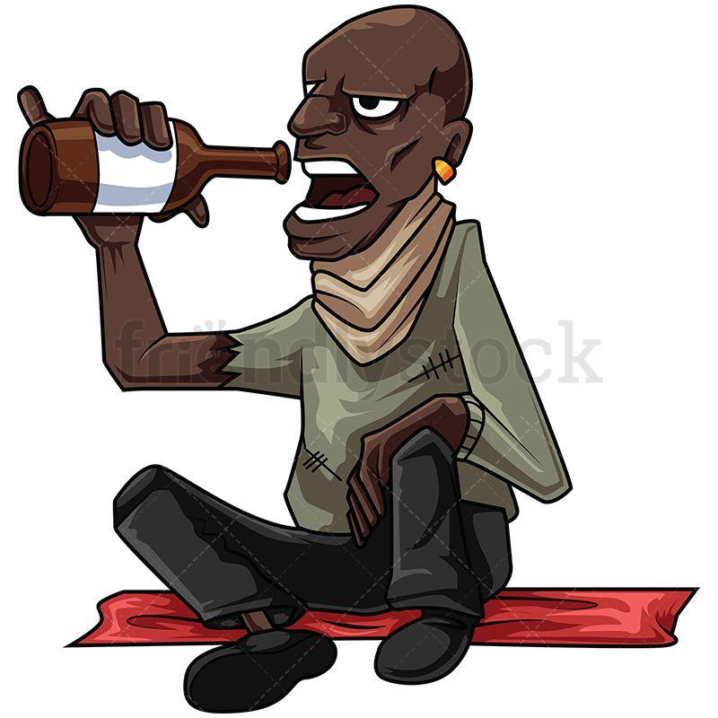 Homeless Black Man Drinking Alcohol Vector Cartoon Clipart Friendlystock Cartoon Clip Art Man Illustration Homeless