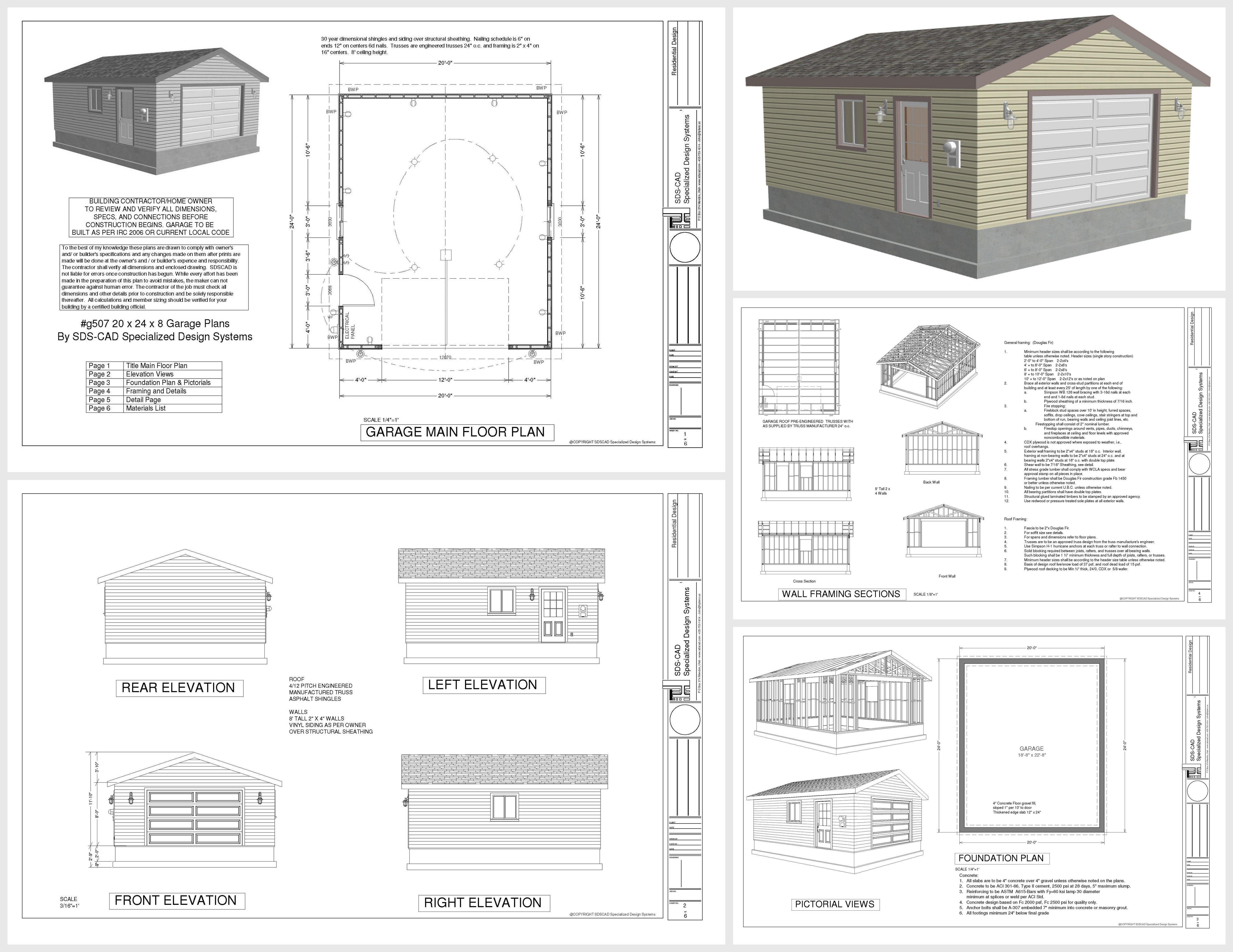 G507 20 X 24 X 8 Garage Plans Sds Plans Garage