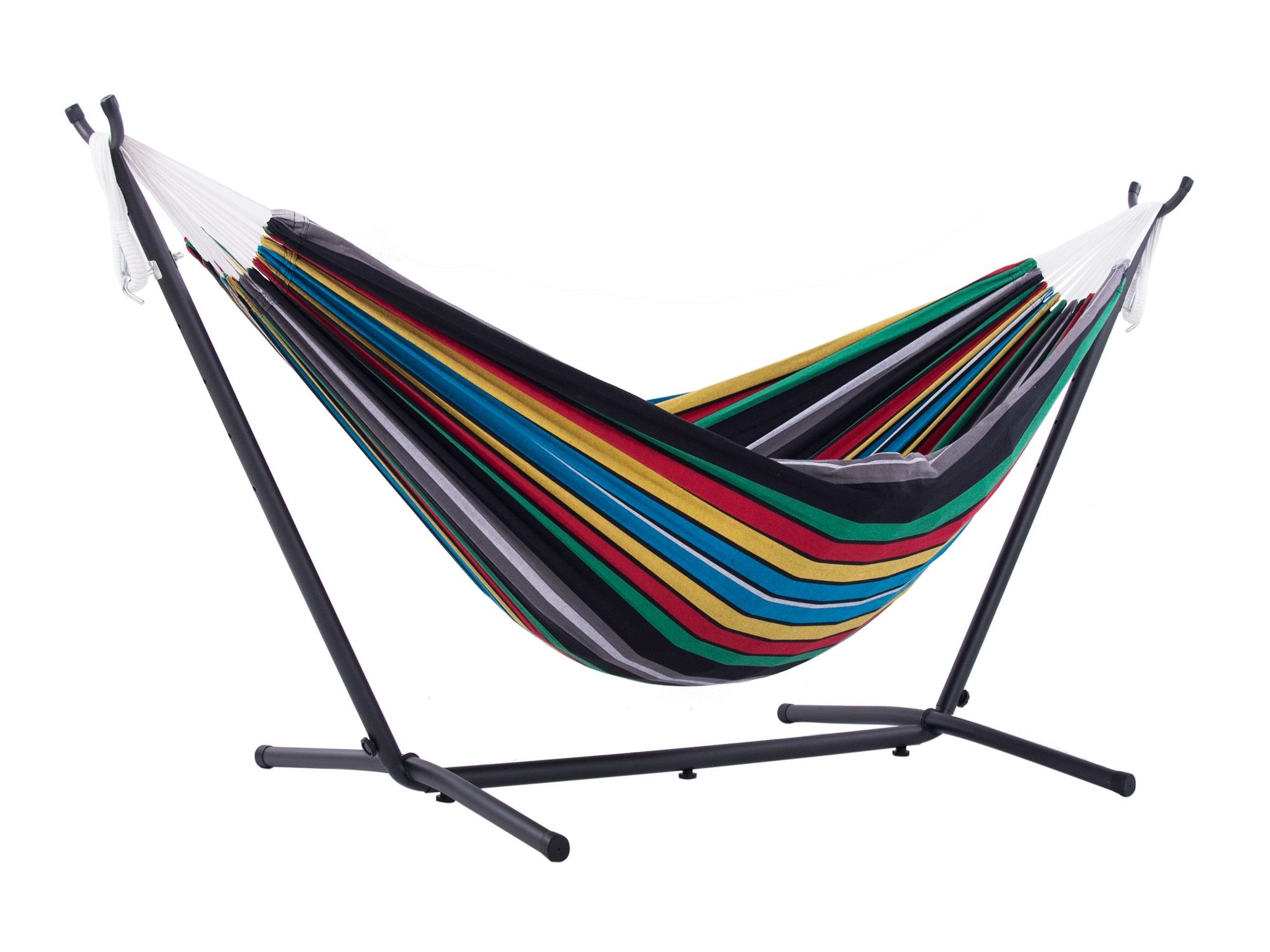 """10"""" Black and Blue Striped Brazilian Style Hammock with a Steel ..."""