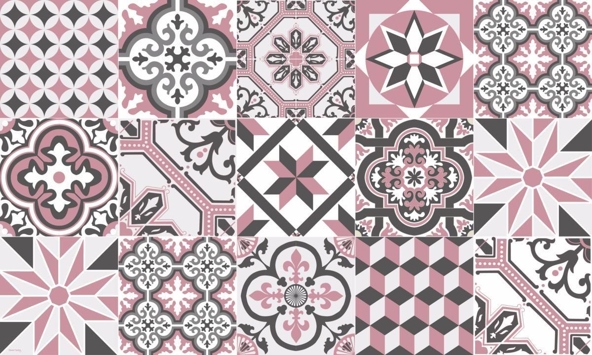 Tapis Vinyle Carreaux De Ciment Ginette Rose Vinyle Carreaux