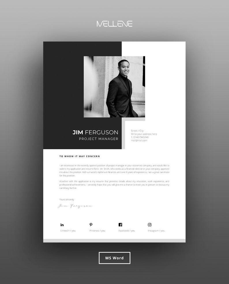 Resume Template 5 Page Cv Template Cover Letter Instant Download For Ms Word High Quality Modern Design Jim Modele Cv Design Cv Creatif Modele Lettre De Motivation