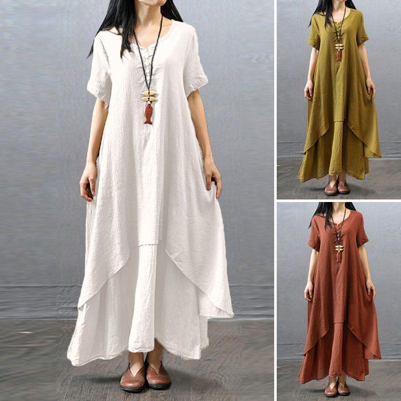 9d6c8bf6f0f Women Peasant Ethnic Boho Cotton Linen Long Sleeve Maxi Dress Gypsy Blouse  Shirt