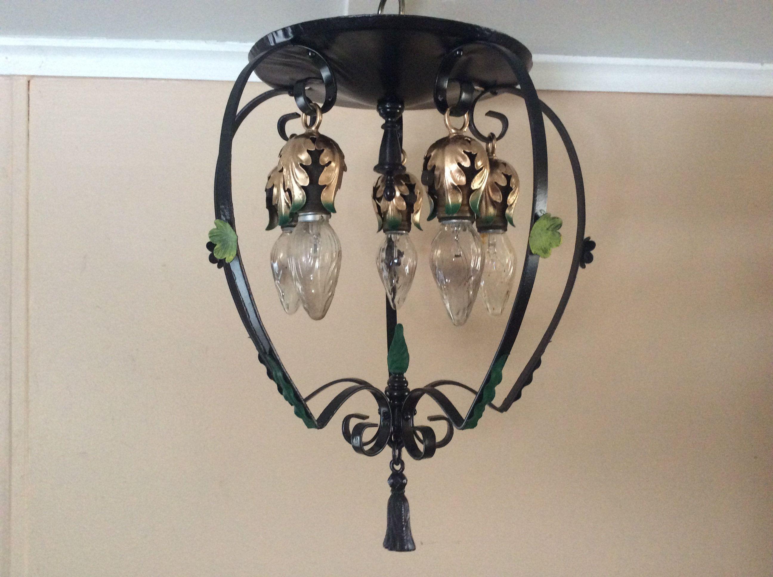 spanish revival lighting. Antique Large Ceiling Light Fixture Wrought Iron 1940s Spanish Revival Lighting S
