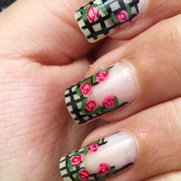 Freehand Rose nail art