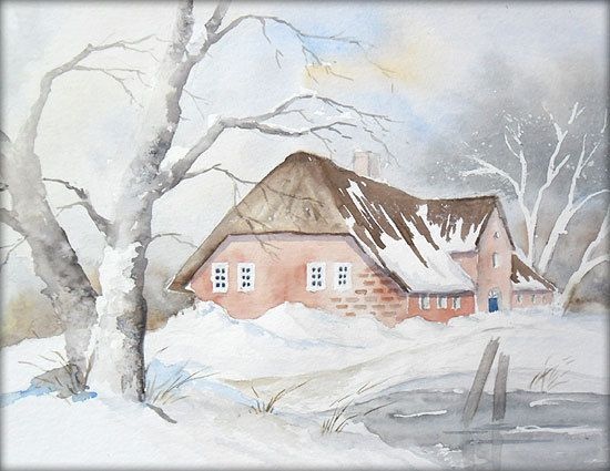 Winter Im Norden Aquarell 24 X 32 Cm Original Aquarell