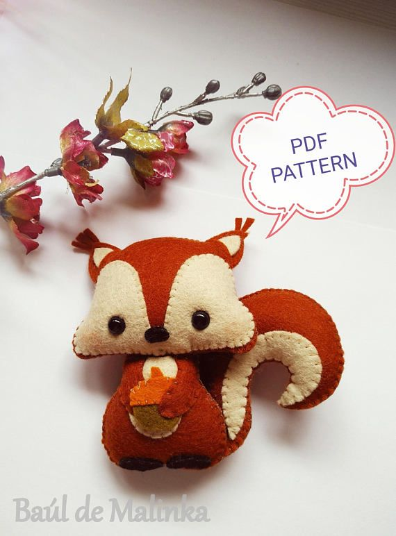 Squirrel PDF pattern Woodland animals toy DIY Nursery decor Baby's mobile toy Felt Squirrel toy Kids present Felt ornament #felttoys