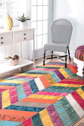 Rugs Usa Multi Chroma Chevron Rug Bohemian Runner 2 6 X 8