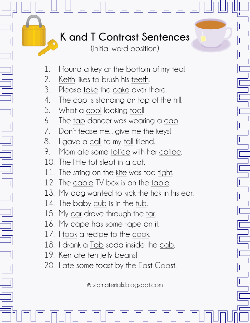 Minimal Pair Sentences K And T Speech Ideas
