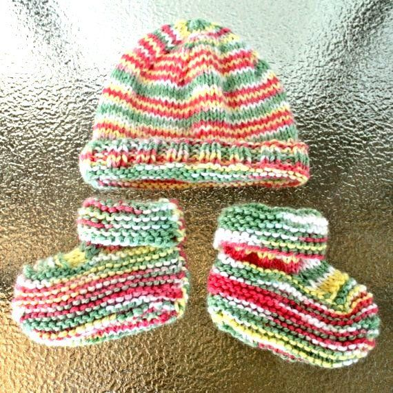 baby hat-baby booties knit