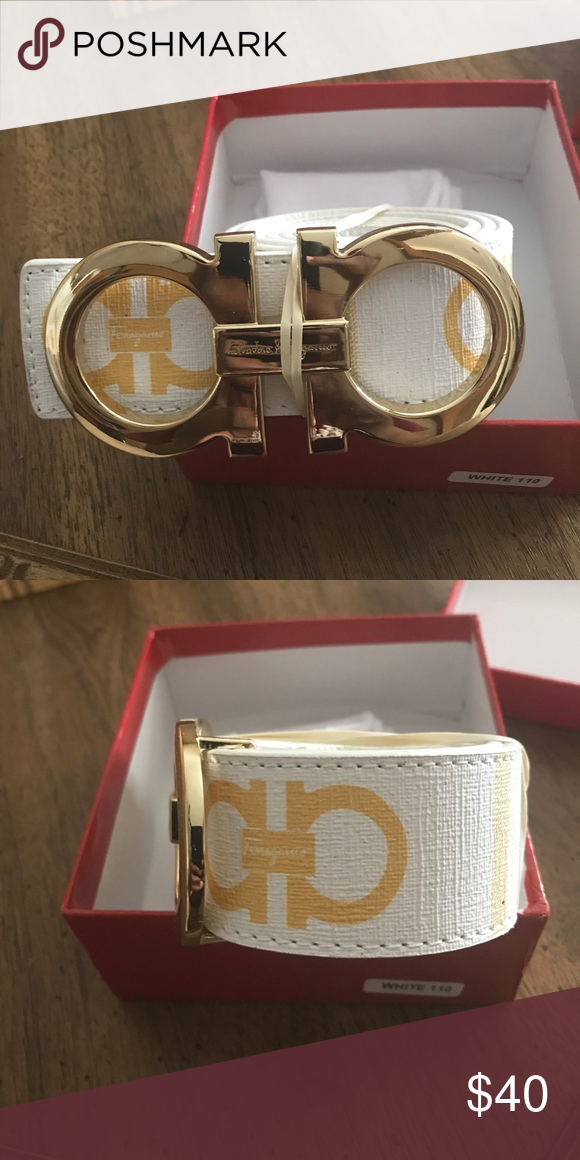 Belt Beautiful white a gold Ferragamo belt with large gold ...