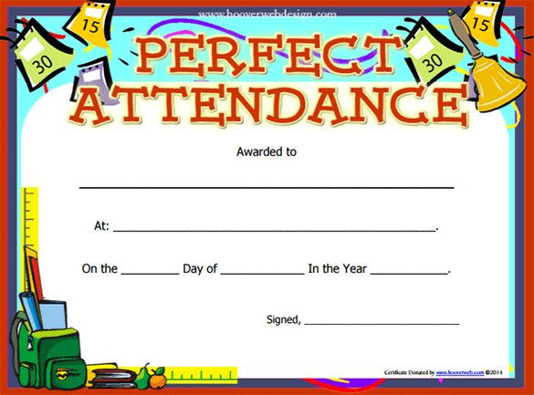 Perfect Attendance Certificate Template Free Printable Word