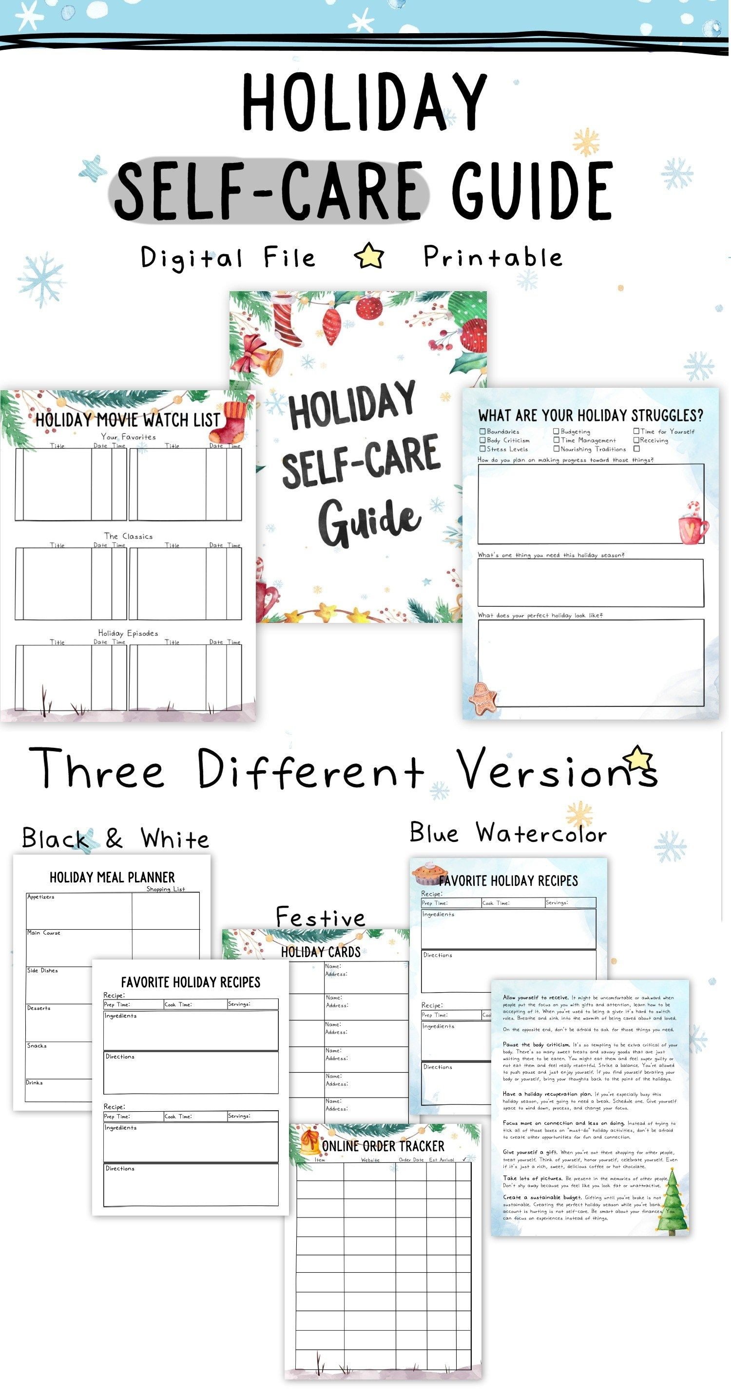 Self Care Worksheets For Adults