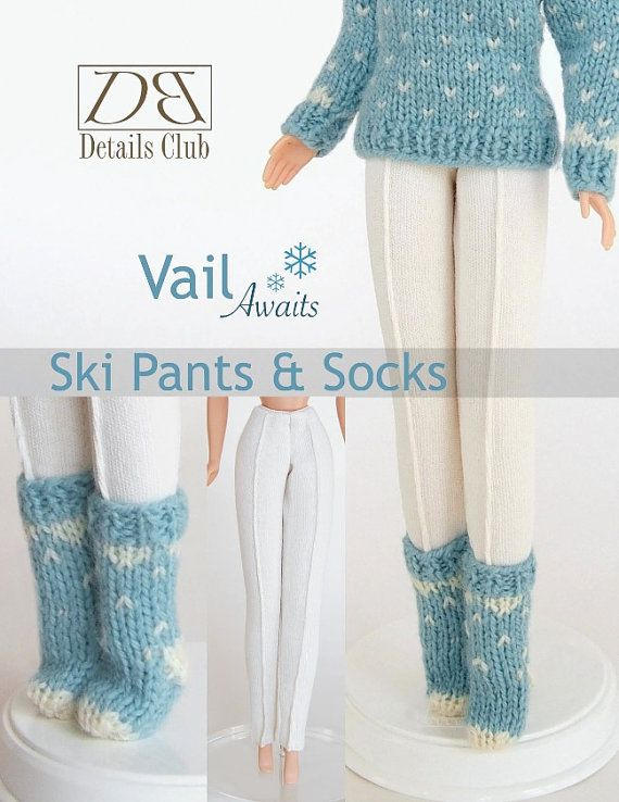 Sewing Knitting Pattern For 11 12 Doll Barbie Ski Pants And