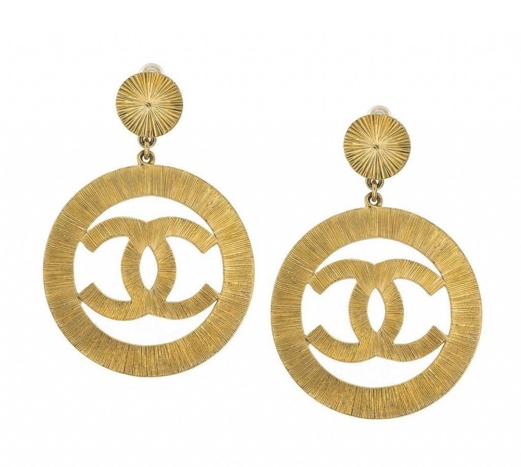 Big gold earrings photo jewelry pinterest vintage chanel view this item and discover similar dangle earrings for sale at chanel cc large gold dangling earrings signed chanel made in france arubaitofo Images