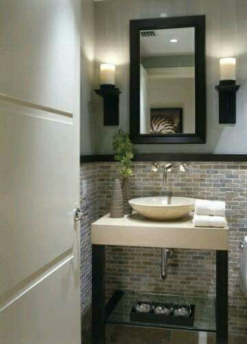 Medio Bano Modern Powder Rooms Powder Room Design Bathrooms