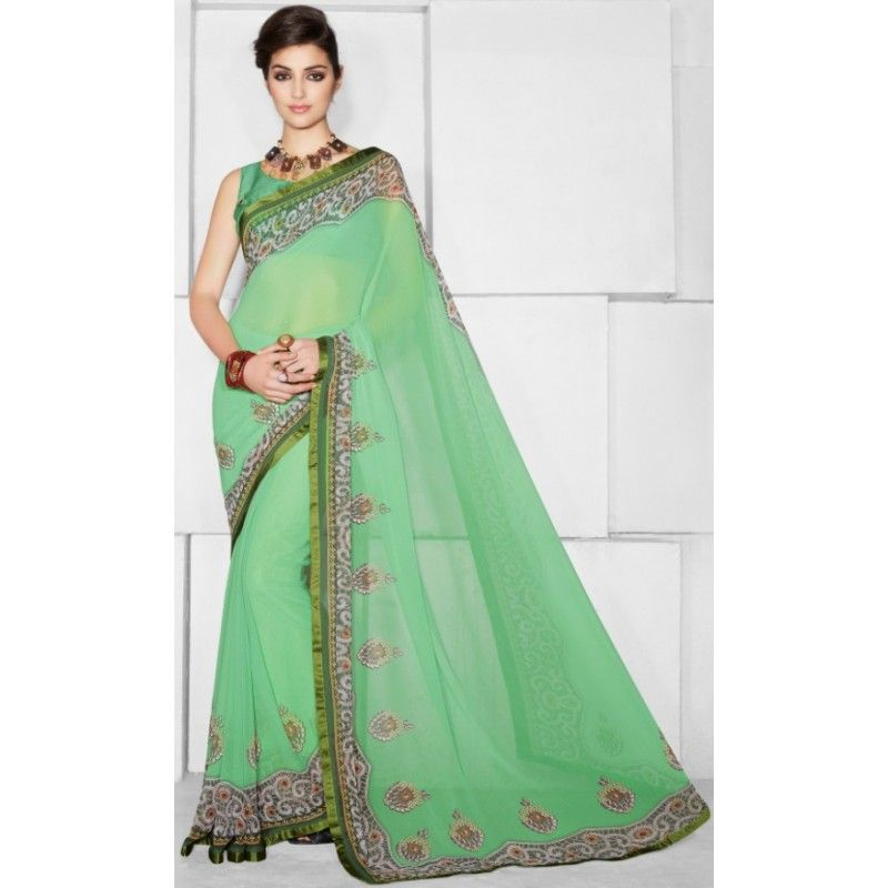 Designer Green Embroidered Printed With Borders Saree-RKTMIL511(FH-RKTMIL509)