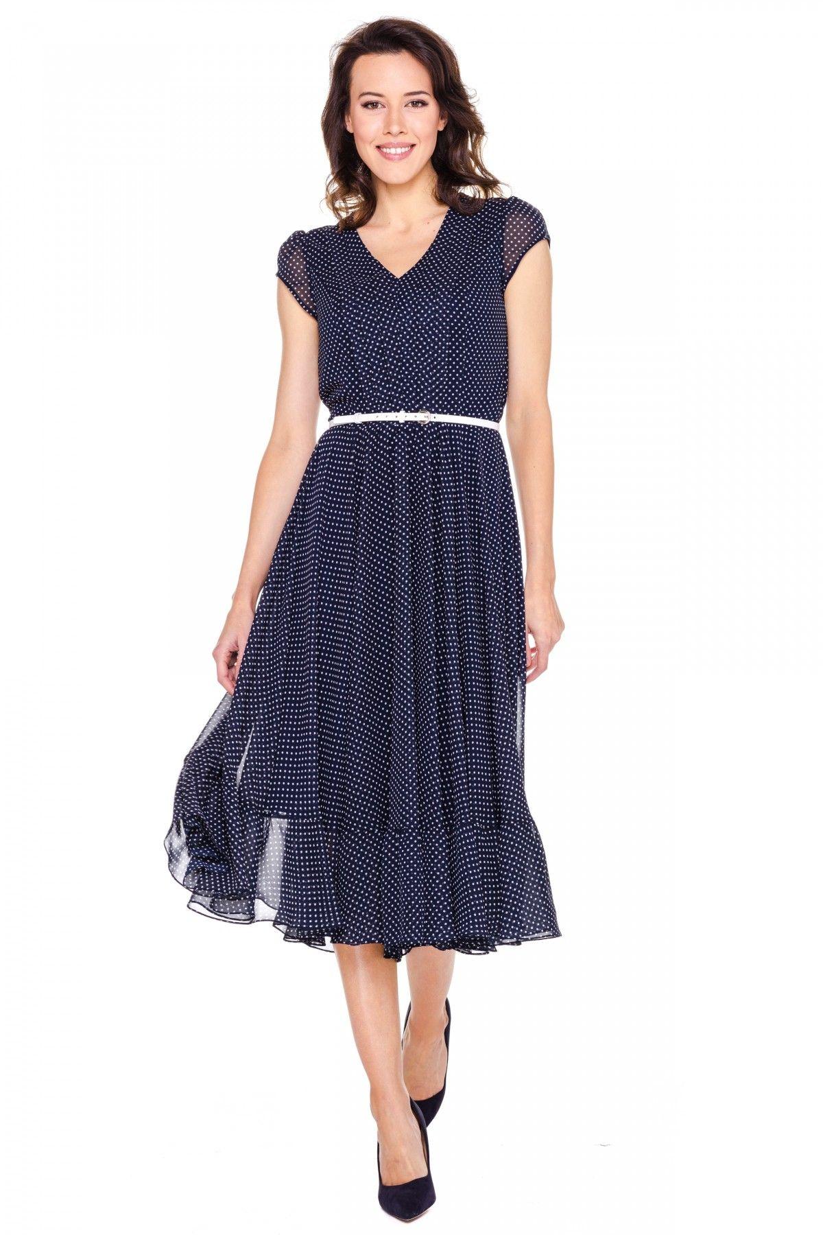 fd3dc8d76d Granatowa sukienka w białe groszki - L ame de Femme - 124582 ...