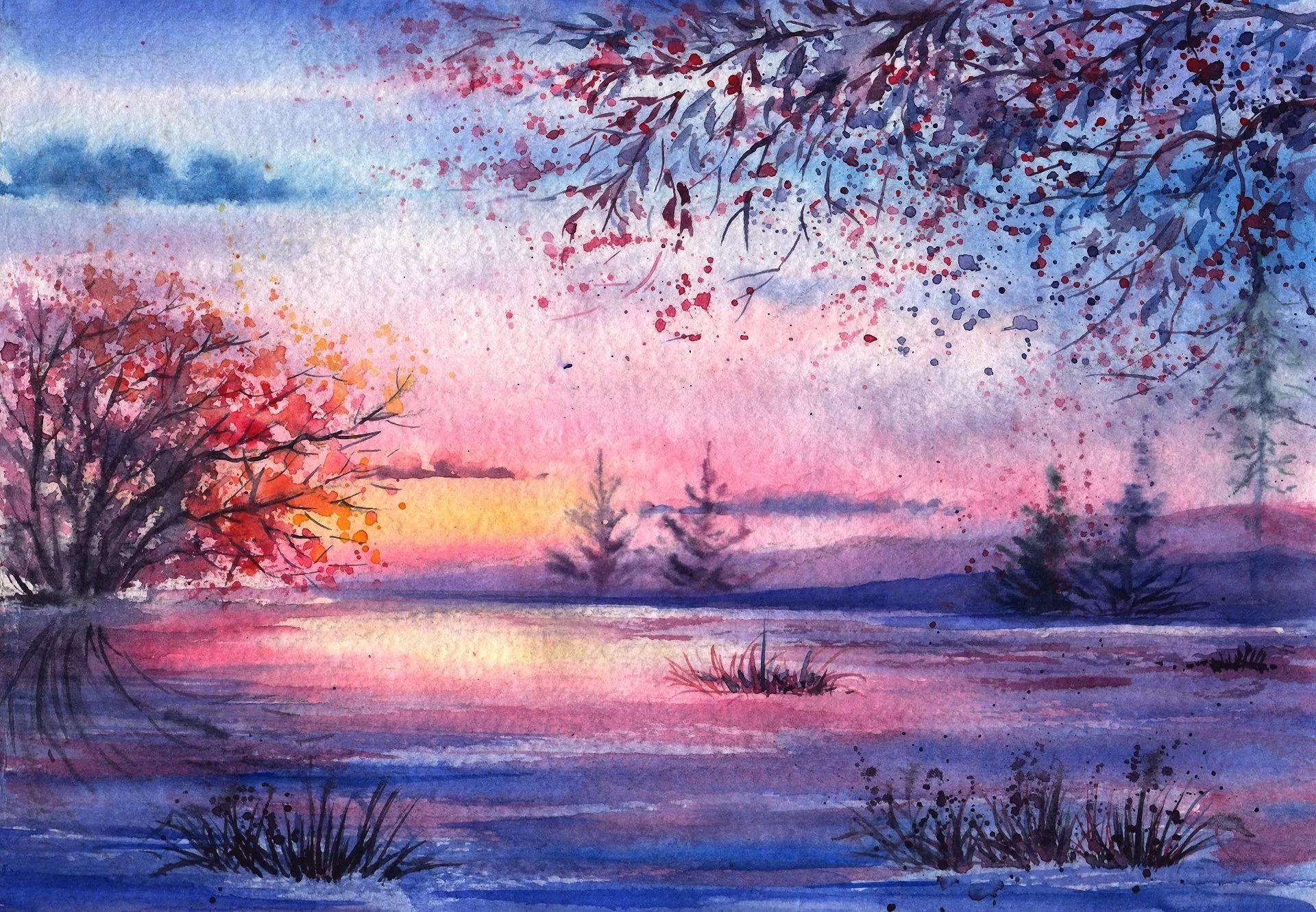 Красивые пейзажи картинки нарисованные
