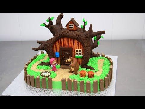 MASHA and the Bear Chocolate Cake - Decorating with ...