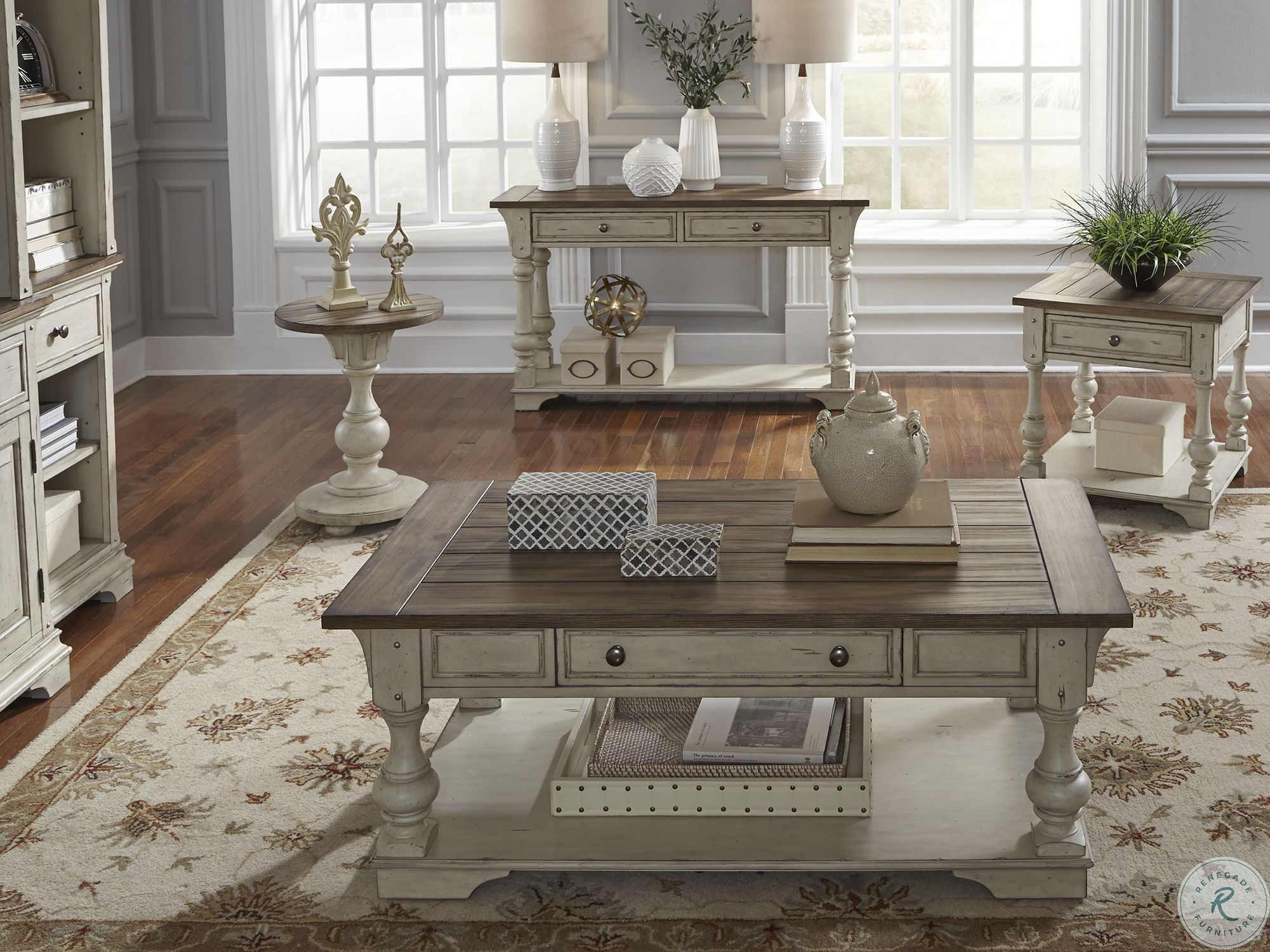 Morgan Creek Antique White Cocktail Table From Liberty Coleman Furniture In 2020 Liberty Furniture Coffee Table Coffee Table Farmhouse