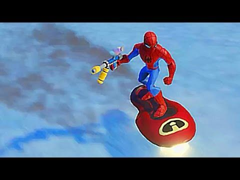 Spiderman Having Fun Surfing with a Hoverboard at a Snow Park with Nurse...