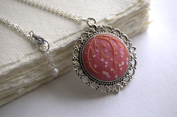 Juliet  romantic rose polymer clay floral necklace by JonelleJames, $28.00