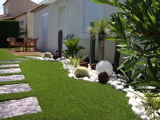 Cesped artificial jardin jardin pinterest gardens Decoration exterieure jardin contemporain
