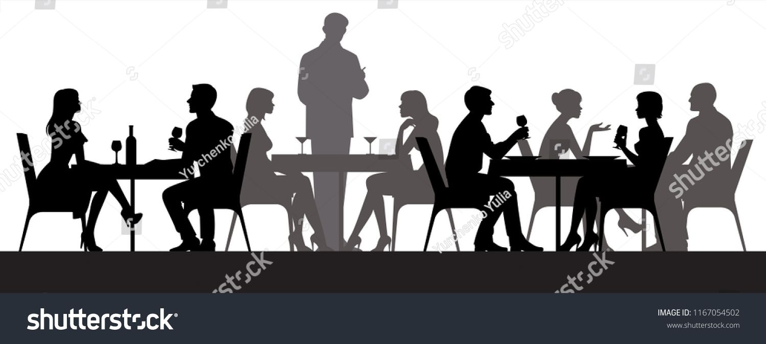Black Silhouettes Of People Sitting At Restaurant Tables Eating And Drinking Vector Illustration Sponsored Silhouette People Black Silhouette People Sitting