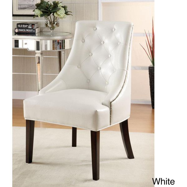 White Tufted Accent Chair ($249) ❤ Liked On Polyvore Featuring Home,  Furniture,