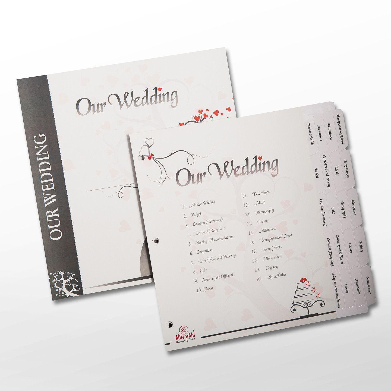 Wedding Kit Organizer Pre Printed Index Tabs For Three Ring Binder Ahh Hah