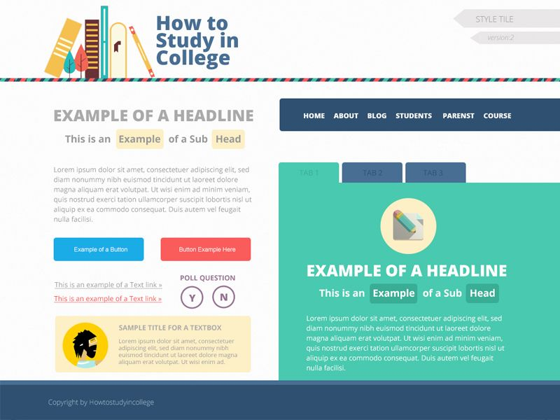 Style tile for flat website design with images style