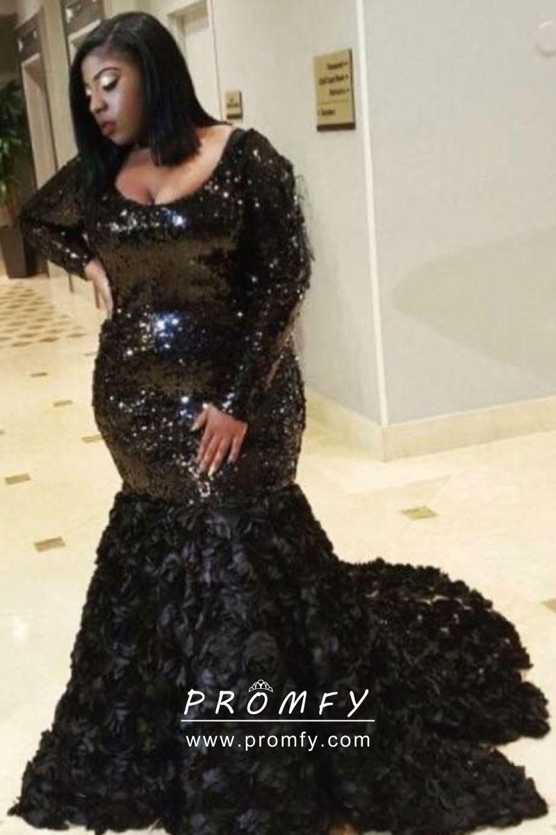 Sparkly Black Sequin 3d Rose Plus Size Prom Dress Plus Size Prom Dresses Prom Girl Dresses Plus Prom Dresses
