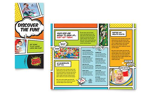 kids club tri fold brochure word template publisher template