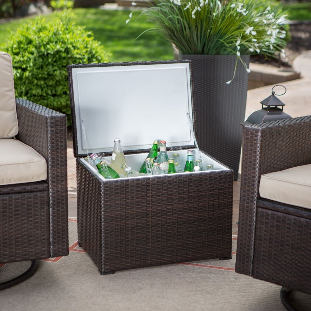 Wicker Rattan End Table Ice Chest Cooler Outdoor Patio Furniture New Crosley Outdoor Wicker Affordable Outdoor Furniture Outdoor Furniture Decor