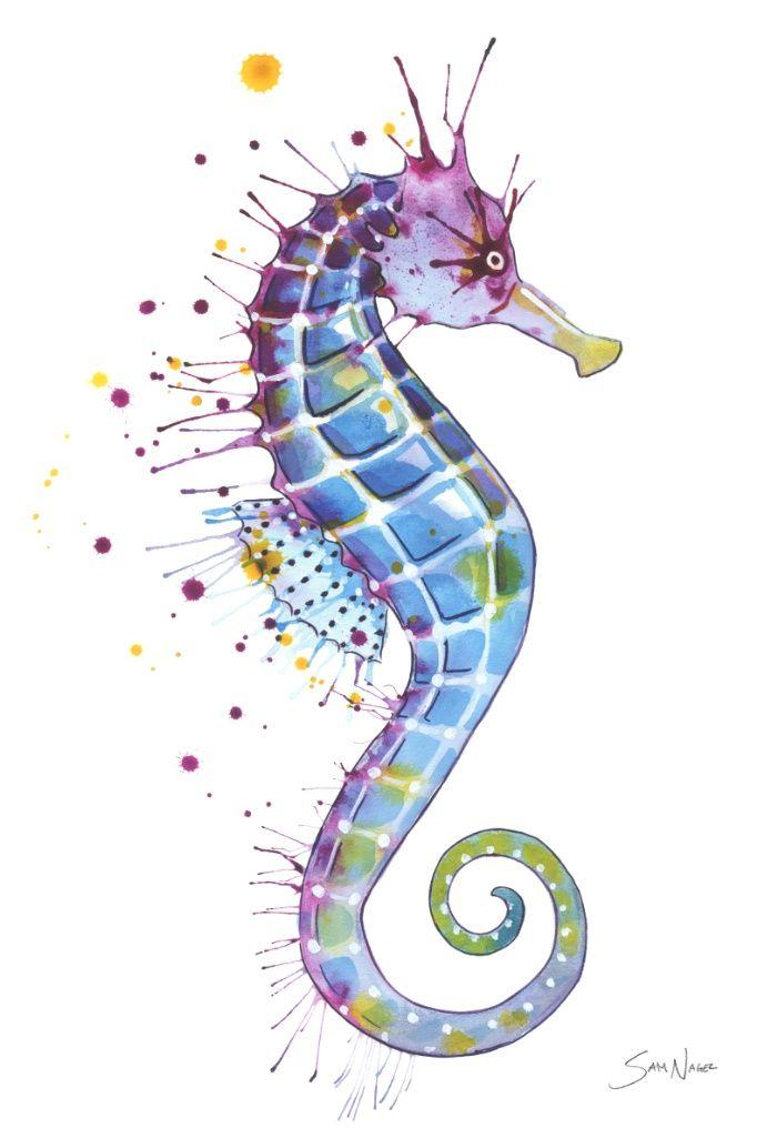 purple seahorse - 550×813