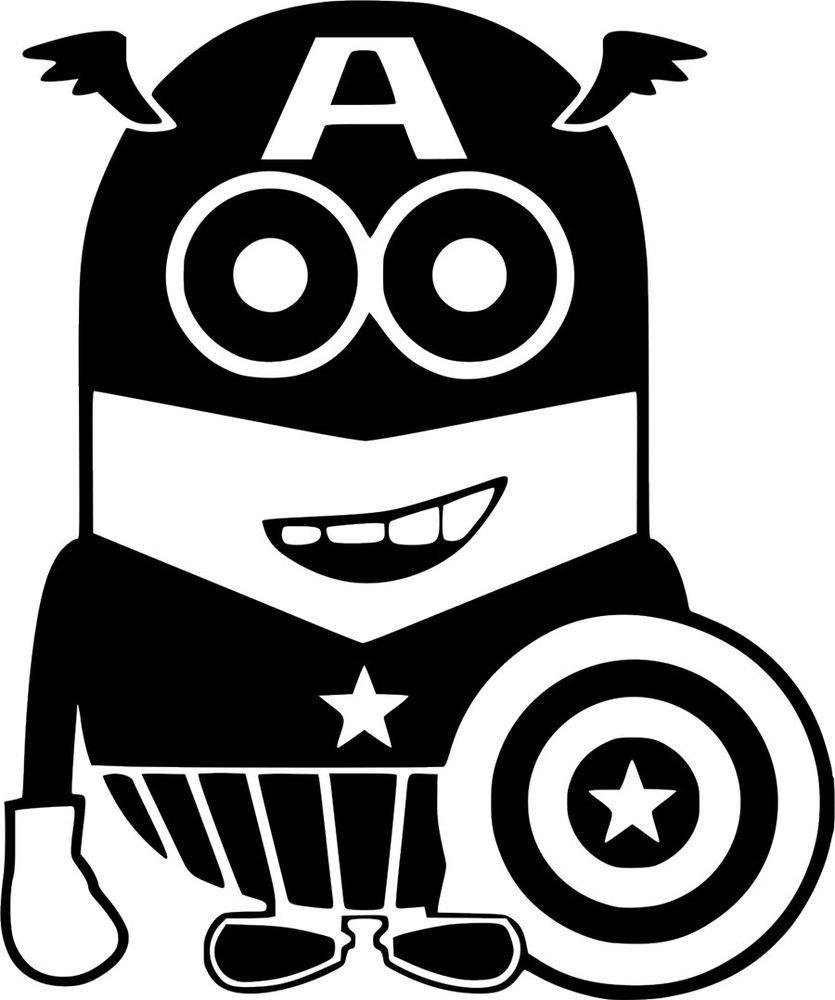 aa23224efe90be Captain America Minions Decal Car Wall Laptop Window Vinyl Sticker   DecalMania13