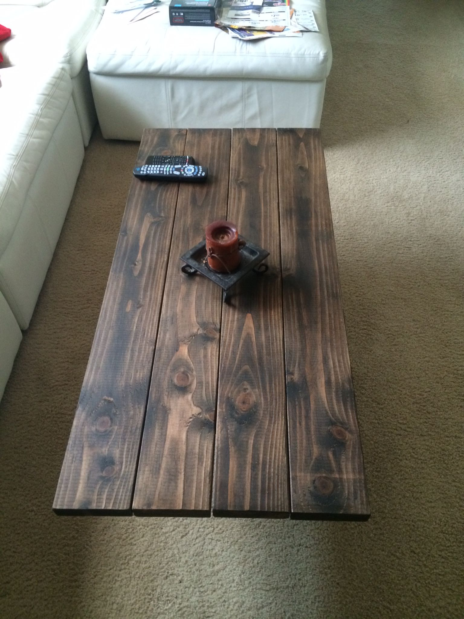 My Coffee Table Top  2x6 Douglas Fir With Dark Stain U0026 Wax