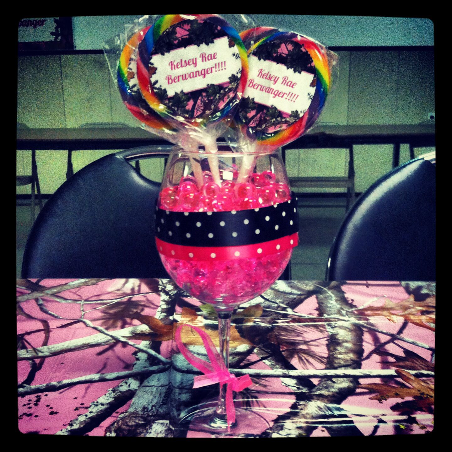 Baby girl pink camo baby shower centerpieces baby for Pink camo decorations