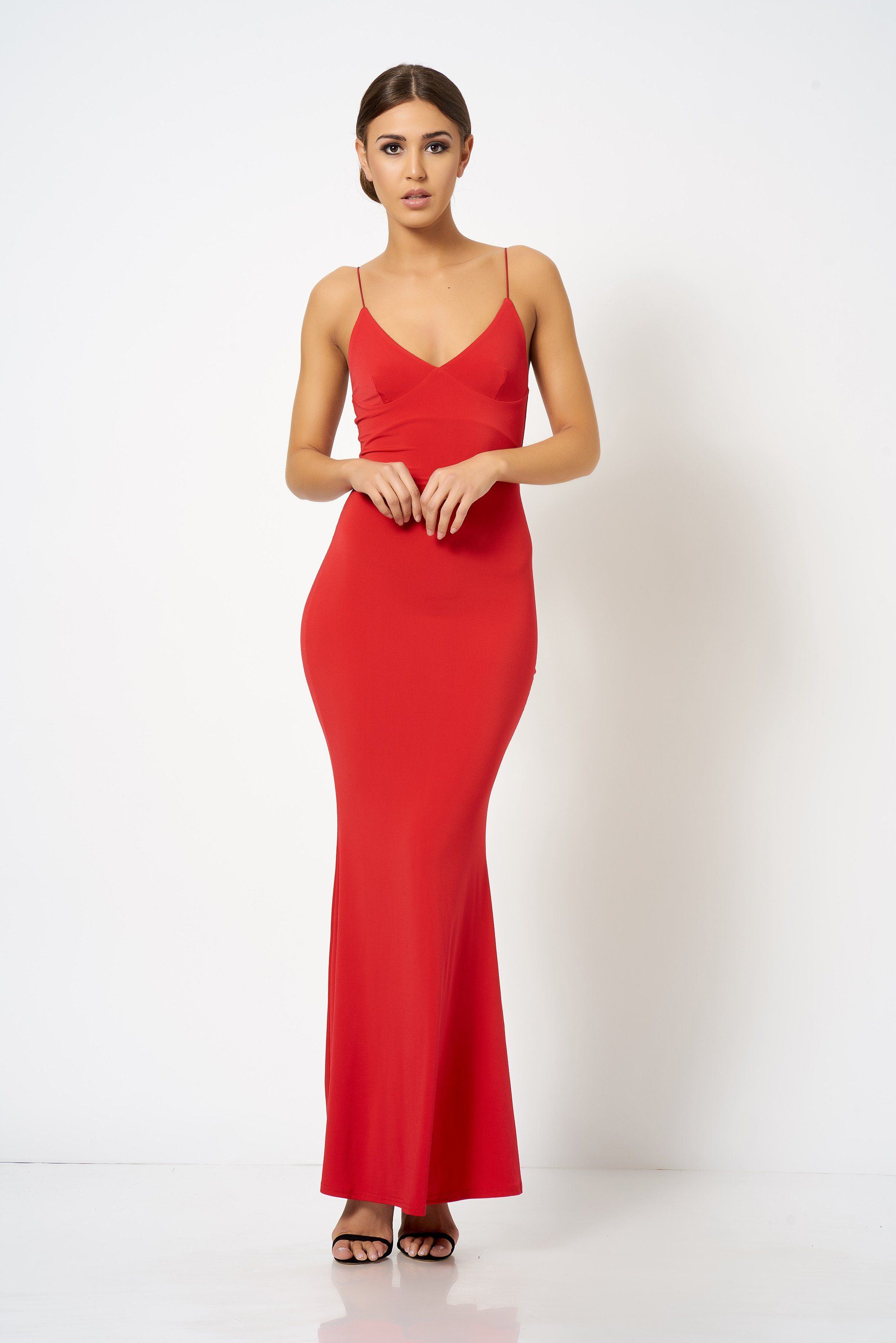 85215a795ccd Red Strappy Plunge Maxi Dress in 2019   prom dresses   Dresses, Prom ...