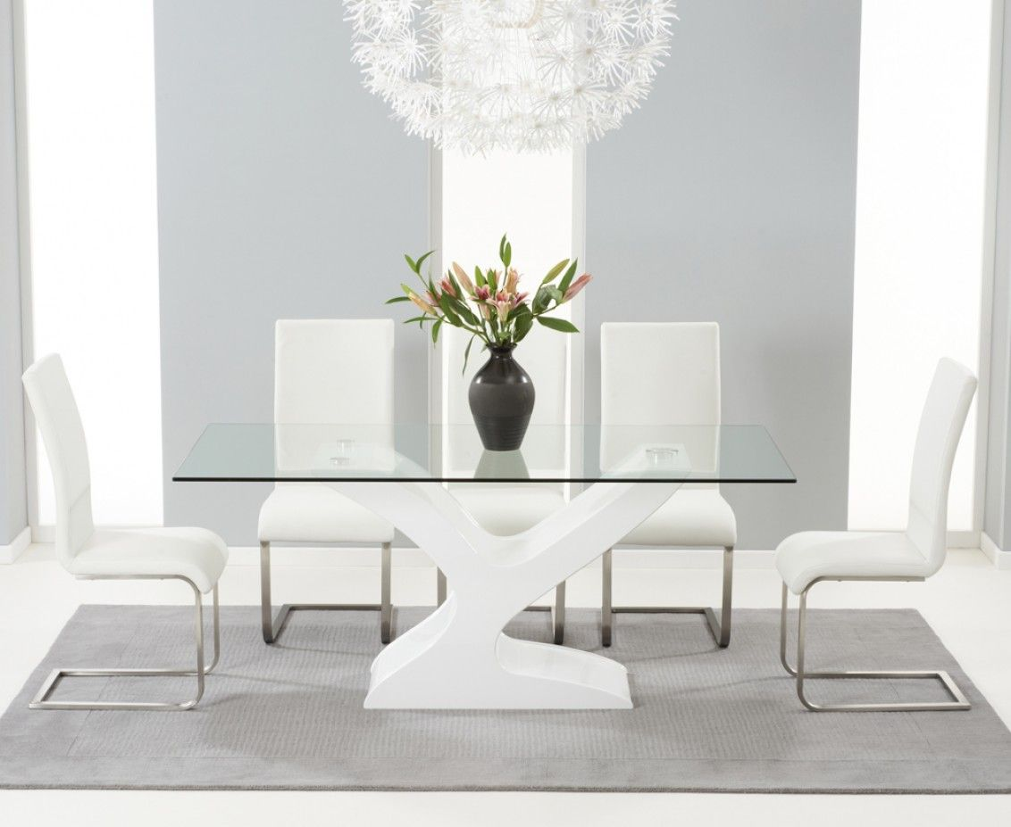 Red Leather Dining Room Chairs For Sale Nevada 180Cm White High Gloss And Glass Dining Table With Malaga