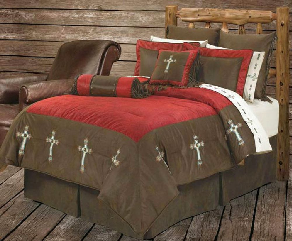 Brown and red bedding - Red Cross Comforter Bedding Set King