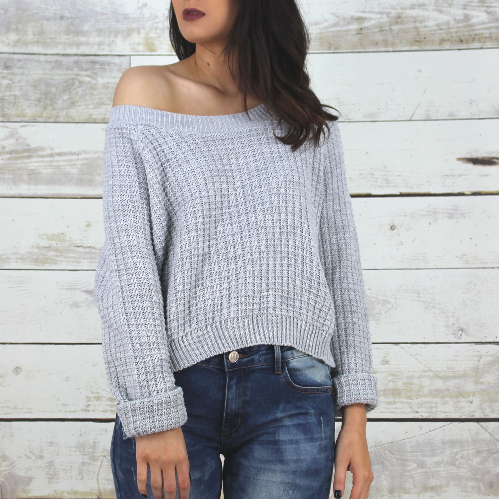 Glamorous Light Grey Waffle Knitted Jumper