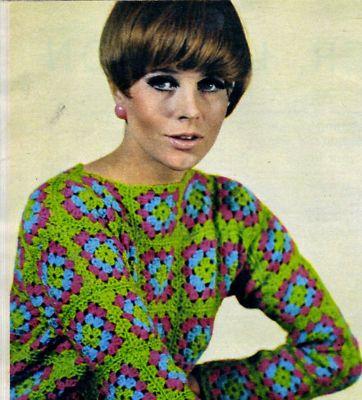 Vintage Crochet Pattern Mod 60's Granny Square Pullover